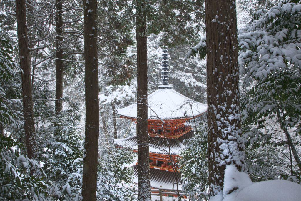 雪の岩船寺三重塔(重文)