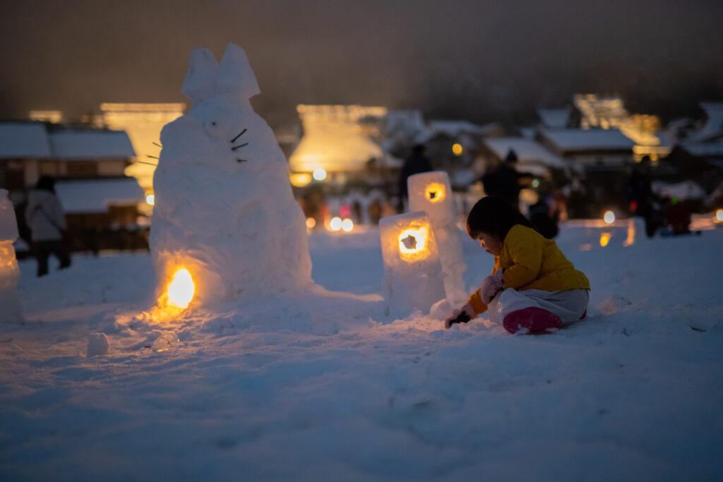 美山かやぶきの里:雪灯廊